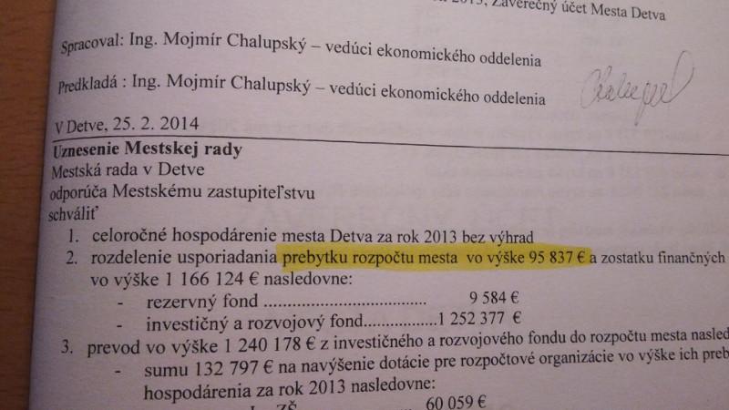 záverečný účet  - schváleného prebytku vo výške 95 837.- EUR